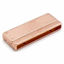 DQ metaal ROSE GOUD HIPPENAMA magneetsluiting breed - maat 17x43mm - gat 3,3x40mm (B07-055-RG)