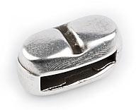 DQ metaal schuifkraal met streepje smal voor 10mm plat leer (B04-018-AS)