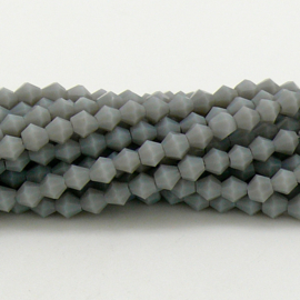glaskraal bicone 4mm - circa 110  kralen (BGK-008-021) kleur Grey Opaque