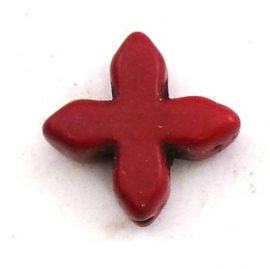 kraal keramiek keltisch kruisje 15mm gat 1mm kleur bordeaux rood (BJ809)