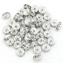 strass rondel - ZILVER - crystal - maat 6x3mm - gat 1mm - 5 stuks