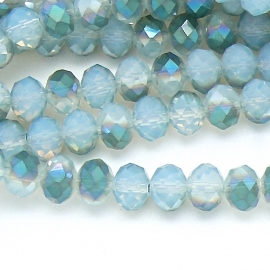 glaskraal rondel facet 6x8mm kleur opal white diamond coating (BGK-006-024) - 35 stuks