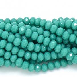 glaskraal rondel facet 4x6mm - streng van ongeveer 100 kralen (BGK-005-033) kleur turquoise green