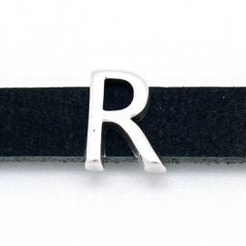 DQ metaal schuifkraal voor 10mm breed leer - letter R- maat 11x14mm - gat 2,5x10mm (B04-085-AS)