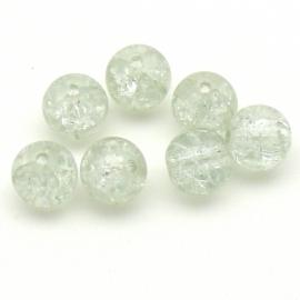 (BJW054) glaskraal rond 10mm crackle crystal  - 5 stuks