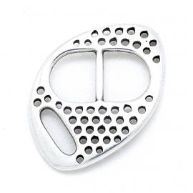 DQ metaal bucklesluiting met gaatjes voor 10mm breed leer maat 27x30mm (B07-098-AS)