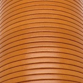 soepele lederen band smal 5mm - dik 2mm - kleur amber - 20cm (PL05-030)