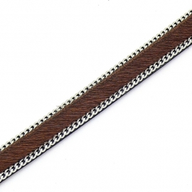 DQ professional platte leerband 10mm breed, 20cm lang vacht cappucino met ketting (PL10-HLSCP-17)