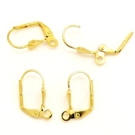 oorbel klapoorhaak met oogje Gold Plated - maat  5,5 x 10,5x17,5mm (KK-R071-07G) - 2 paar