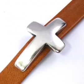 DQ metaal schuifkraal gebogen kruis voor 10mm breed leer (B04-030-AS)
