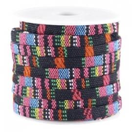 AZTEC Cord 5mm breed kleur zwart hot pink - 20cm (BJ-27126) LET OP: GEEN LEER!!