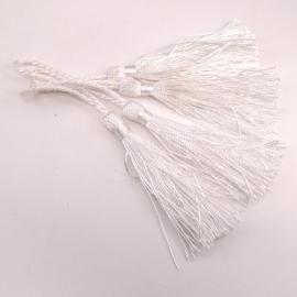 satijn kwastje 12cm lang (zelf afknippen op gewenste lengte!) kleur wit (BSK-12-01)