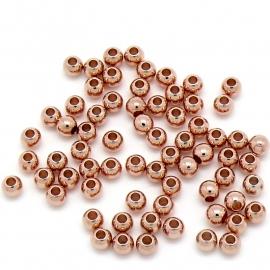 DQ metaal ROSE GOUD ronde kraal 4mm - gat 1,4mm (B01-053-RG) - 10 stuks