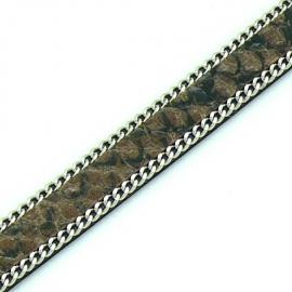DQ professional platte leerband 10mm breed, circa 2mm dik,, 20cm lang snake bruin met ketting (PL10-HLSCP-15)