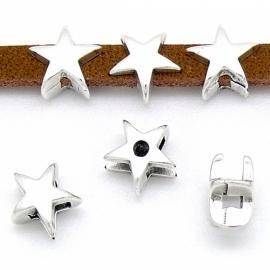 DQ metaal schuifkraal ster voor 5mm plat leer gat 2,5x5mm (B04-058-AS)