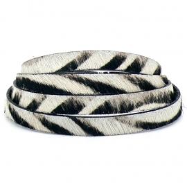 DQ professional platte leerband 10mm breed, 20cm lang vacht zebra (PL10-HLP-14)