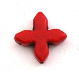 kraal keramiek keltisch kruisje 15mm gat 1mm kleur rood (BJ801)