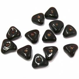 (BJBR-023) glaskraal driehoek 13mm bruin- 10 stuks