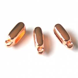 DQ metaal ROSE GOUD schuifkraal met oog voor 6mm breed leer (B04-044-RG)