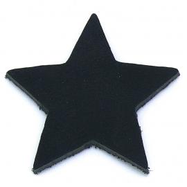 DQ leather gestanste ster 60x60mm - dik 4,5mm kleur buffel black (ST-STER-001)