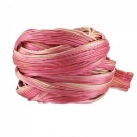 Shibori Silk Ribbon - color Ecru Pink - lengte 20cm (FCR-425)