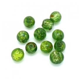 (BJG-036) glaskraal rond 10mm zilverfoil kleur groen - 10 stuks