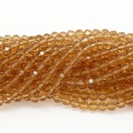 glaskraal rond facet 6mm - streng van ongeveer 100 kralen (BGK-002-005) kleur gold chapagne