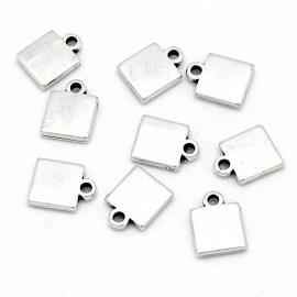 DQ metaal bedel klein vierkant maat 8x11mm (B02-149-AS)