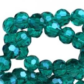 glaskraal facet 6mm rond emerald green (BK19085) - 30 stuks