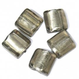glaskraal plat vierkant 12mm grijs silverfoil (BJGR004) - 2 stuks