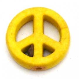 BJ343 keramiek kraal peace 15mm kleur lichtgeel