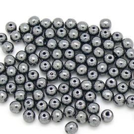 PB4-L23980 Tsjechisch ronde glaskraal 4mm - kleur Hematite - 100 stuks