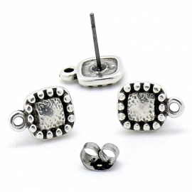 DQ metaal oorbel  oorsteker met vierkant ballframe en oogje per paar (B05-035-AS)
