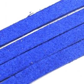 imitatie suede veter 5mm breed 90 cm lang kleur fel donkerblauw (BJ256)