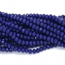 glaskraal rondel facet 3x4mm - circa 148 kralen (BGK-004-037) kleur cobalt blue