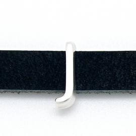 DQ metaal schuifkraal voor 10mm breed leer - letter J - maat 5x16mm - gat 2,5x10mm (B04-077-AS)