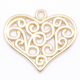 DQ metaal GOUD bedel filligran hart groot 25x27mm (B02-061-SG)