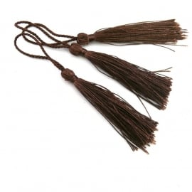 satijn kwastje 12cm lang (zelf afknippen op gewenste lengte!) kleur donkerbruin BSK-12-06)