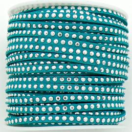 imitatie suede veter 3mm breed met zilveren studs - lengte 1m - kleur turquoise (LW-M001-14)
