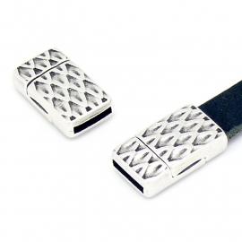 DQ metaal magneetsluiting snake 13x22.7mm gat 2x10mm (B07-086-AS)