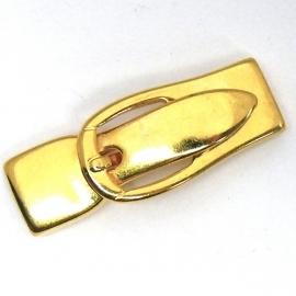 DQ metaal GOLD magneetsluiting gesp voor 10mm breed plat leer (maat slot 4cm - gat 1,5x10mm) (B07-017-SG)