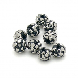 origine shamballa kralen 6mm rond gat 1mm kleur black diamond (SH-06-03)