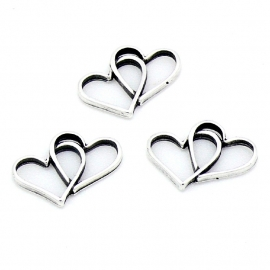 DQ metaal tussenzetsel connected hearts 14x19mm (B03-045-AS)