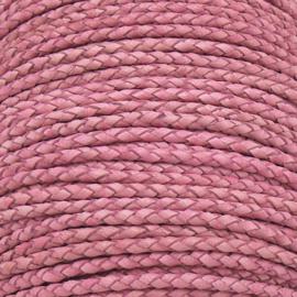 DQ 3mm rondgevlochten soft leather- kleur vintage pink - 20cm (BRGL-3-12)