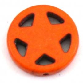 BJ330 keramiek kraal rond 20mm sherrifstar kleur oranje