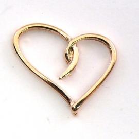 DQ metaal ROSE GOUD bedel open hart sierlijk 16x19mm (B02-038-RG)
