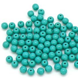 PB4-63140 Tsjechisch ronde glaskraal 4mm - kleur Opaque Truquoise - 100 stuks