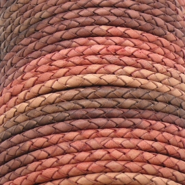 DQ 5mm rondgevlochten soft leather- kleur pink melee - 20cm (BRGL-5-03)