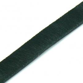 DQ professional platte leerband 10mm breed, 20cm lang vacht zwart (PL10-HLP-18)