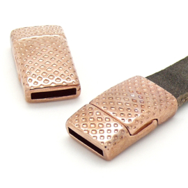 DQ metaal ROSE GOUD magneetsluiting lichtgebogen bewerkt 13x22.7mm gat 2x10mm (B07-090-RG)